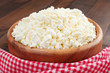 cottage cheese in rustic wooden plate