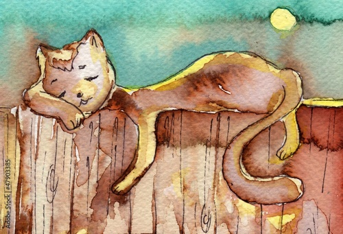 cat, watercolor,