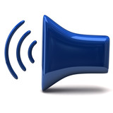Blue stylized speaker icon with shadow, 3d