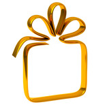Golden gift box icon, 3d