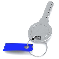 Realistic key with blank blue tag, 3d image