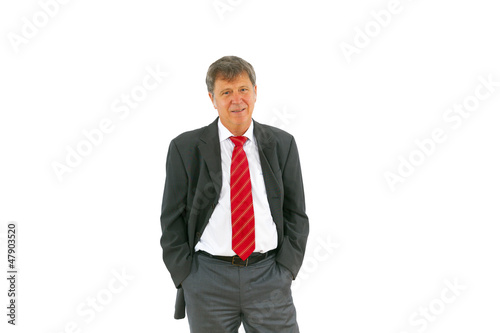 smart succesful business man with red tie and black suit