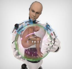 Androide con esfera y elementos químicos del cuerpo humano