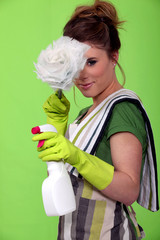 Glamorous cleaning lady