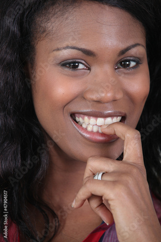 close-up shot of black woman