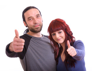 Paar zeigt Topdaumen