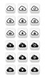 Cloud vector buttons set for web