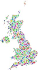 Decorative map of Great Britain - Europe -