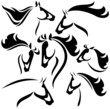horse head outlines - vector set