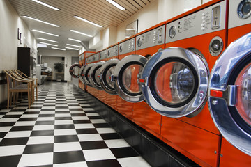 Interior of laundromat