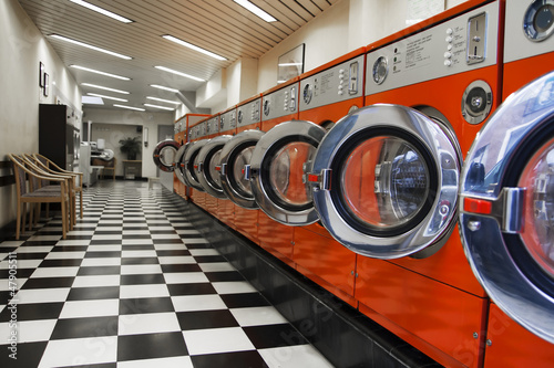 canvas print picture Interior of laundromat