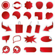 Blanko Rabatt Sticker - Reduziert - Neu - Sale / Rot