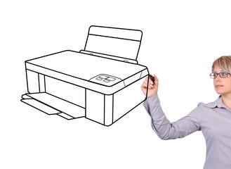 woman drawing printer