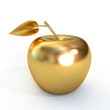 Golden apple isolated on white background, 3d render