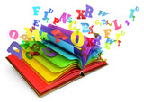 Fototapety Letters flying out of an open book. Magic book. Fairy tale