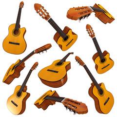 Classical acoustic guitar. Set. 3d render