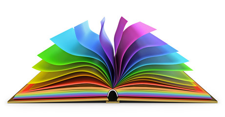 Open book with colorful pages. White background