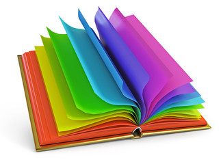 Open book with colorful pages. 3d render