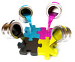 Paint fill a container in the form of a puzzle (CMYK Concept)