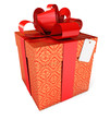 Gift with a red ribbon and a bow. Isolated. 3d render