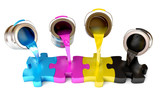Paint from the bucket fills in the puzzle view of CMYK colors