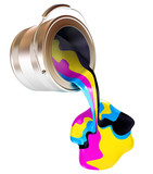 Spilled Paint Cans isolated (CMYK Concept). 3d render