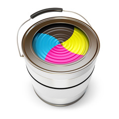 Cans of paint (CMYK Concept). Isolated on white. 3d render
