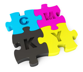Cmyk puzzle. Isolated on white background. 3d render