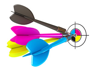Darts hitting directly in bulls eye. CMYK. Conceptual