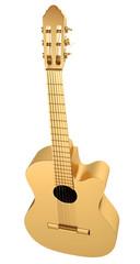 Gold Acoustic Guitar. 3d render
