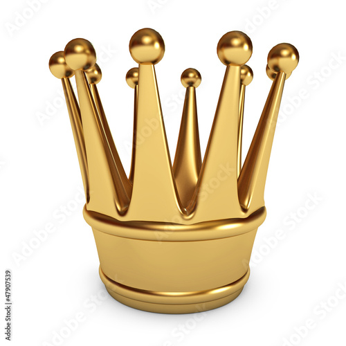 Golden Crown. White background. 3d render