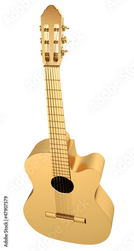 Gold Acoustic Guitar. 3d render