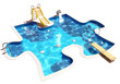 Pool in the form of a puzzle. 3D Illustration of a Swimming Pool