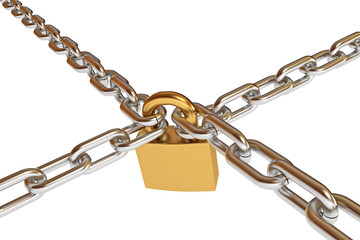 Crossed chains with lock, conceptual illustration, 3d render