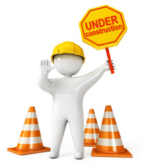 Human at a stop pose. Traffic cones. Under construction sign