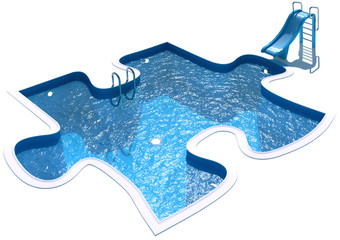 Pool in the form of a puzzle. 3d render