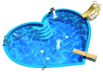 Pool in the form of a heart. 3D Illustration of a Swimming Pool