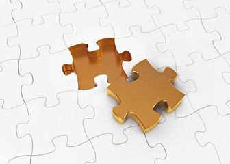 Gold puzzle. 3d render