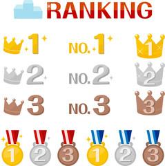 王冠とメダルのランキングアイコン