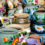 Variety of colorful ceramic pots in Old Village, San Diego