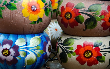 Mexican colorful ceramic pots in workshop in San Diego