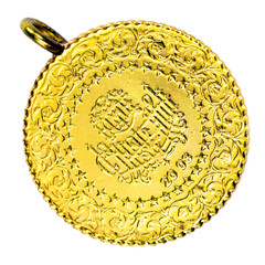 1/4 Turkish Gold Coin. Isolated on white background