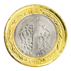 One Turkish Lira coin (front) Isolated on white background