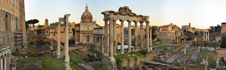 Panorama of the Roman Forum at sunset © lillolillo