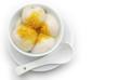 glutinous rice balls & chrysanthemum petal with clipping path