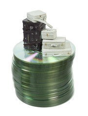 Suitcases on a Stack of Disks