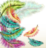 Colorful fashion background with vector filigree ferns poster
