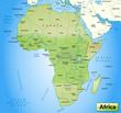 Übersichtskarte von Afrika mit Gewässerflächen