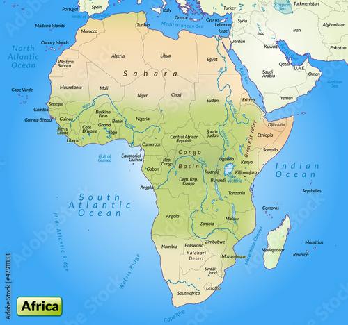 Kontinent Afrika als Übersichtskarte