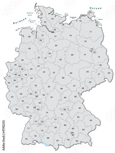 Inselkarte von Deutschland mit Postleitzahlen